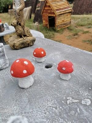 Mushroom statues set
