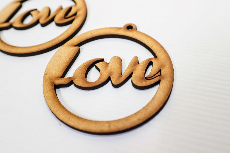 Wooden Earrings: Love