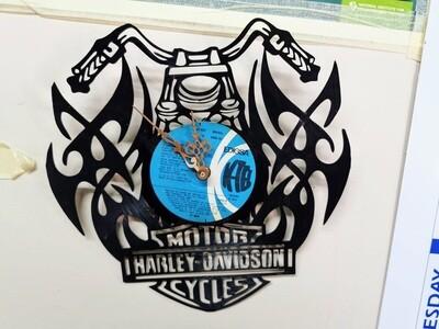 Harley Davidson Laser-cut LP Record Clock