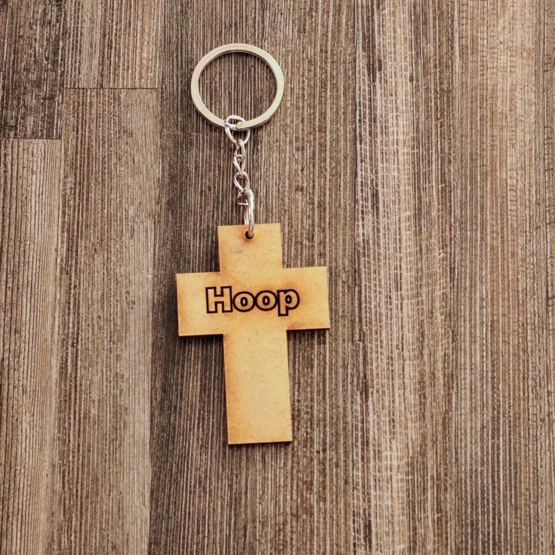 Wooden Cross of Hope Keychain