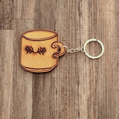 Cup Wooden Keychain