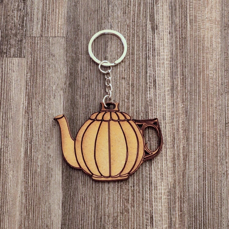 Tea Pot Wooden Keychain