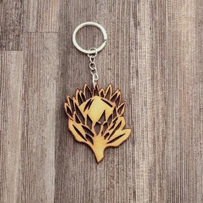 Protea Wooden Keychain