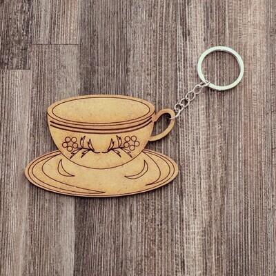 Tea Cup Wooden Keychain