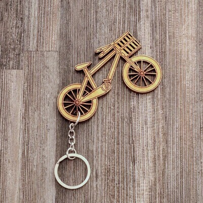 Bicycle Wooden Keychain