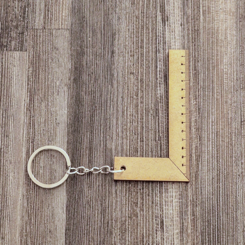 L-Shape Ruler Wooden Keychain