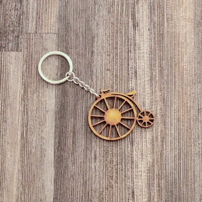 Penny Farthing Bicycle Wooden Keychain