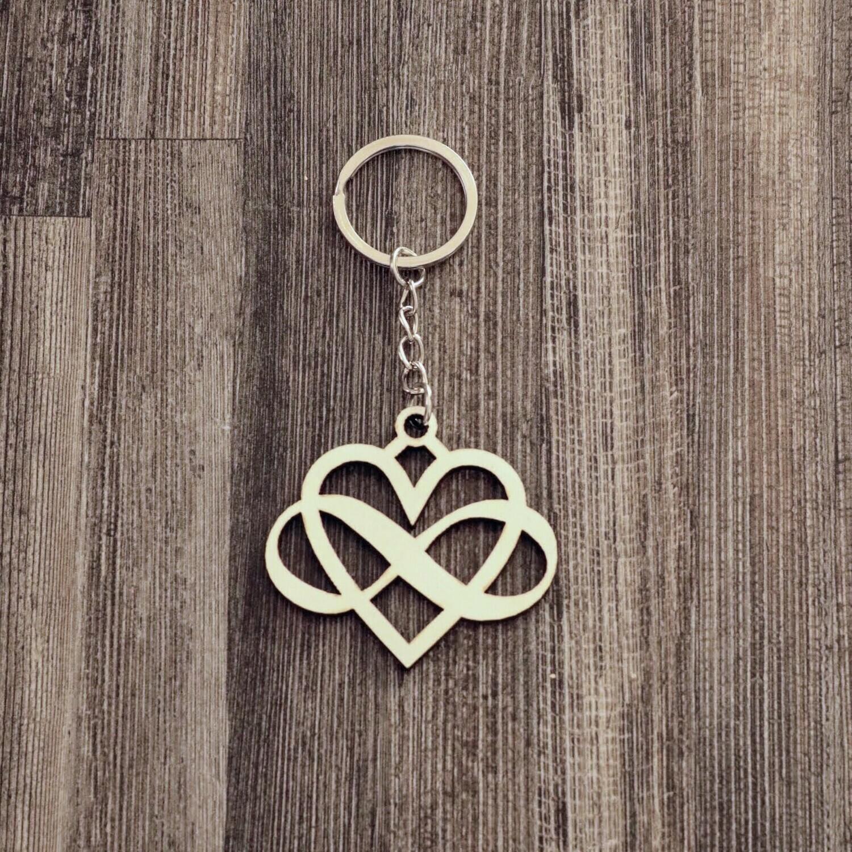 Infinity Heart Wooden Keychain