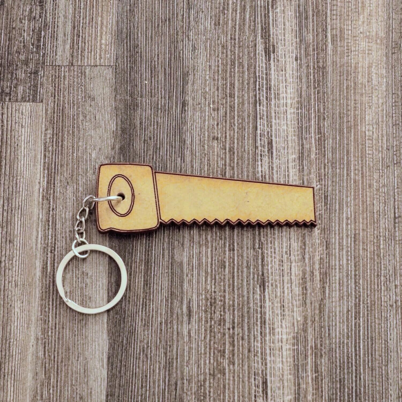 Wood Saw Wooden Keychain