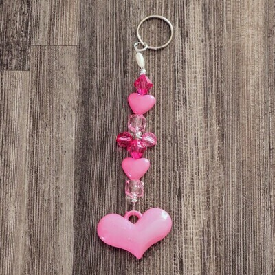 Pink Bead Heart Keychain