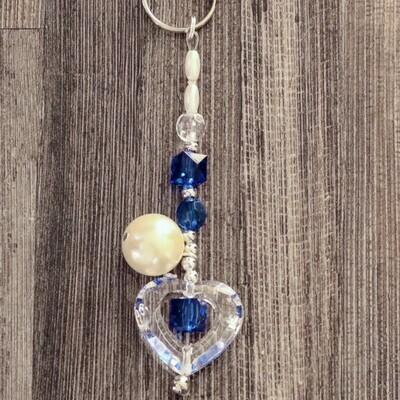 Pearl Bead Cube Heart Keychain