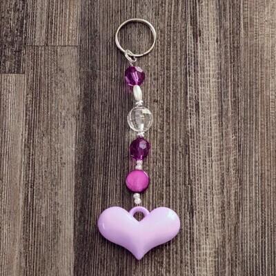 Purple Bead Heart Keychain