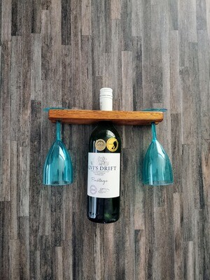 Wine Bottle and Dual Wine Cup Wooden Holder