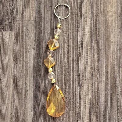 Yellow Bead Gem Keychain