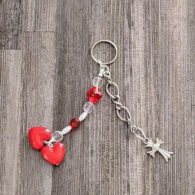 Red Bead Dual Heart Metal Cross Keychain