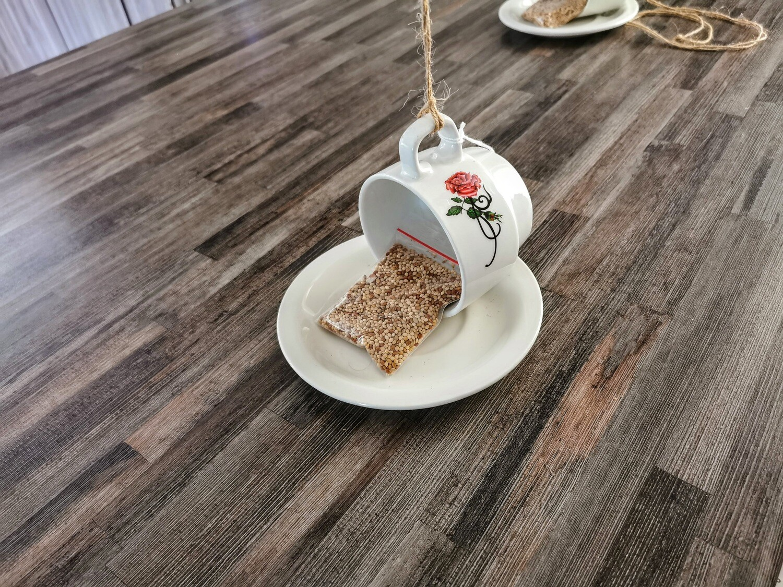 Long Red Rose Teacup Bird Feeder