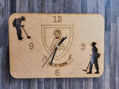 Fac Et Gloria Crest Wooden Clock
