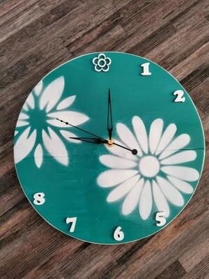 Teal White Flower Clock