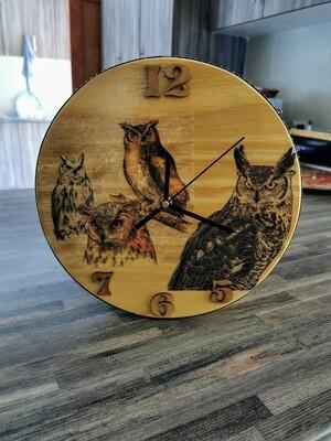 Owl Wooden Wall Clock