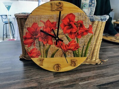Red Flower Wooden Wall Clock