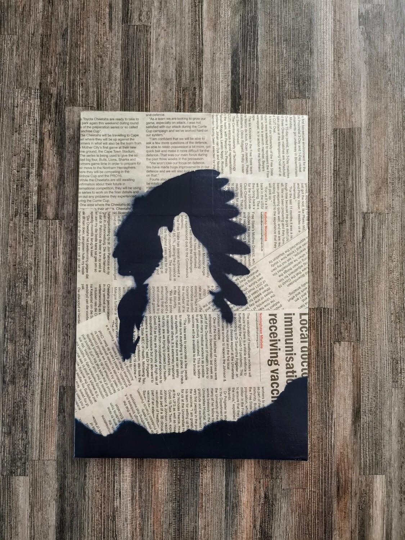 Wolf and Man Newspaper Spray Art