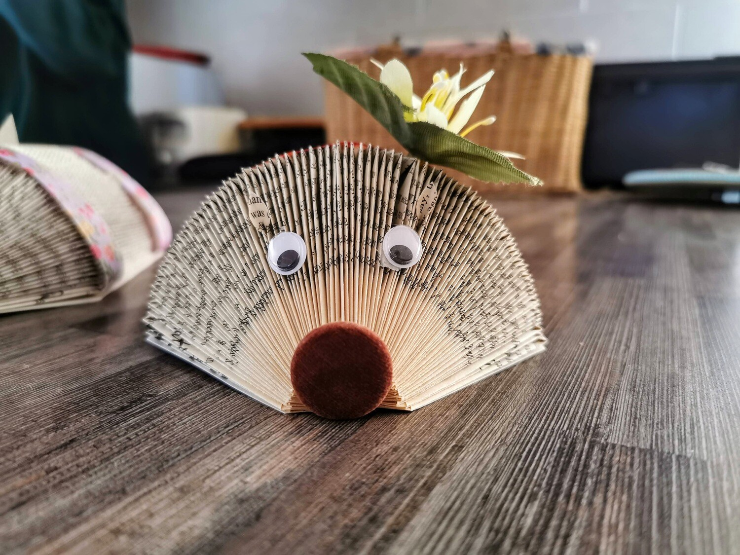 Yellow Flower Book Page Hedgehog