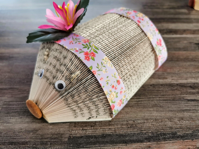 Pink Flower Book Page Hedgehog