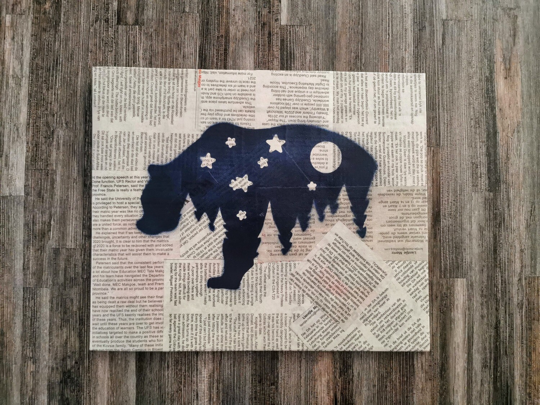 Star Bear Newspaper Spray Art