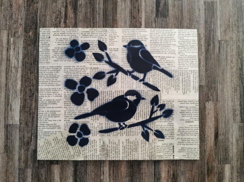 Small Birds Newspaper Spray Art