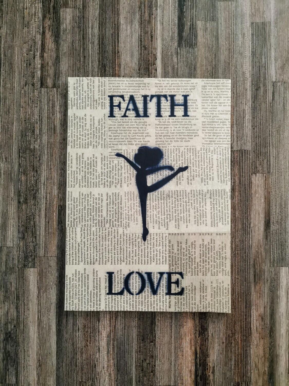 Faithful Love Stretching Girl Newspaper Spray Art