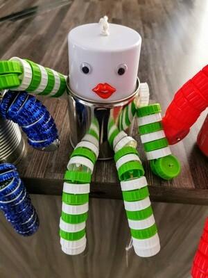 Green Stripe Lip Man Tin Piggybank
