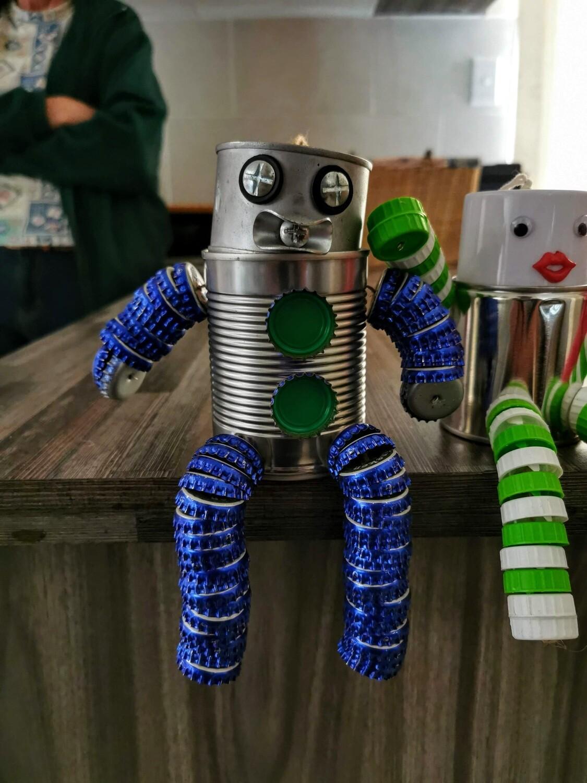 Blue Cap Robot Man Tin Piggybank