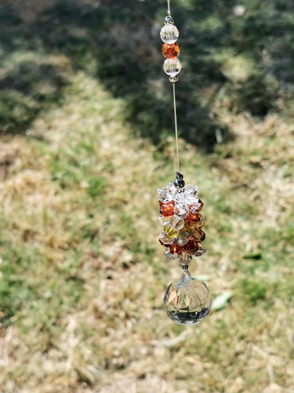 Orange and White Bead Hanger