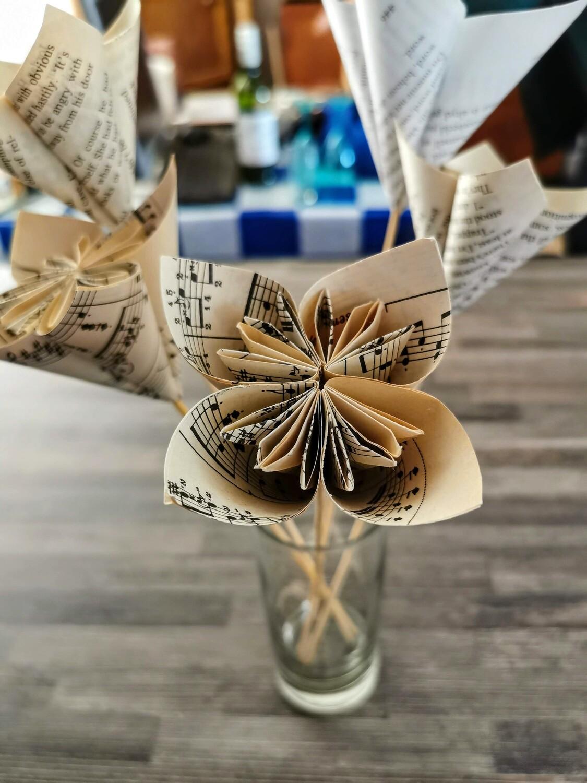 Sheet Music Flower Origami