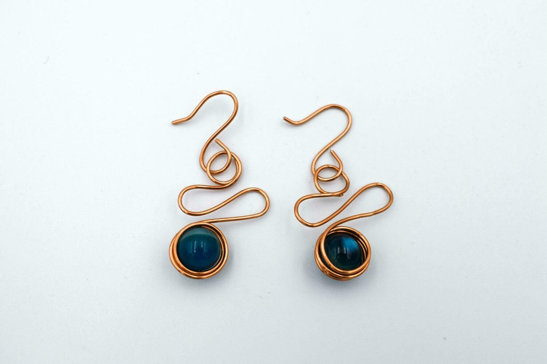 Copper Scribble, Wrapped Black Stone Earrings