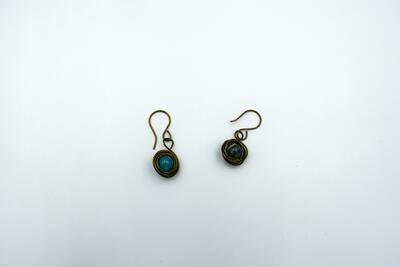 Bronze Wrapped Marble Blue Earrings