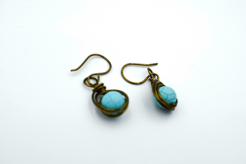 Turquoise Blue - Bronze Earrings
