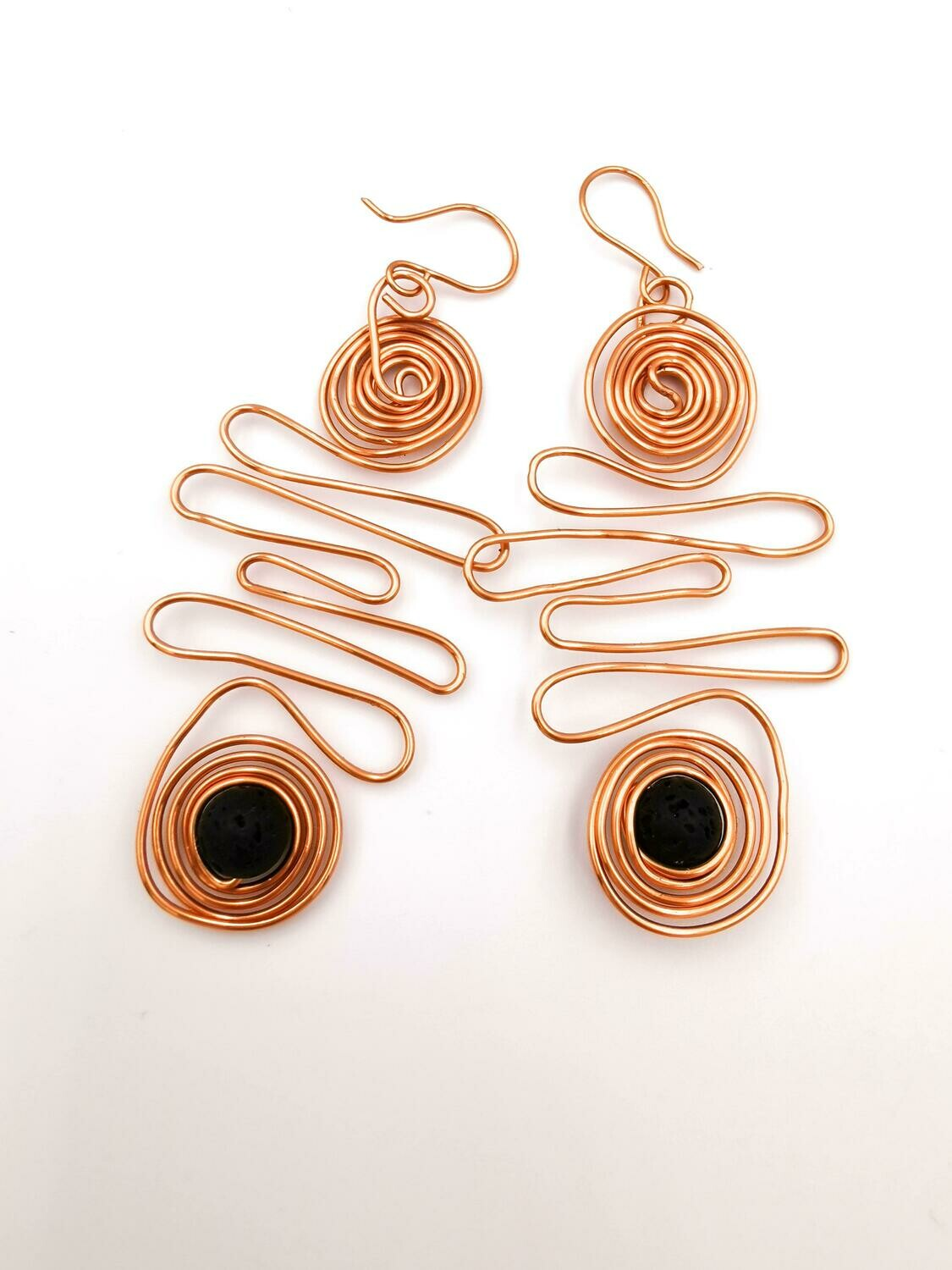 Black Bead, Gold Scribble and Coiled Earrings