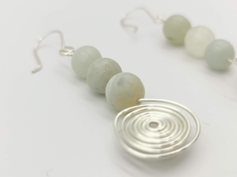 Silver Coiled, White Gem Earrings