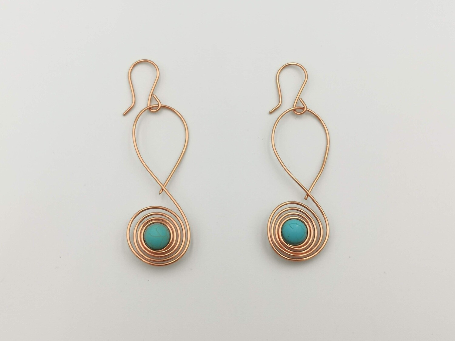 Coiled Copper and Light Blue Gemstone Earrings