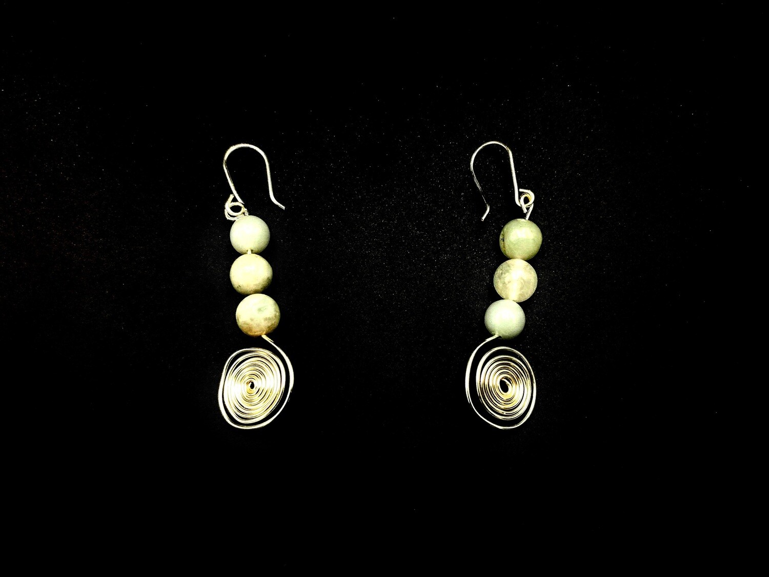 White and Silver Coiled and Beaded Earrings