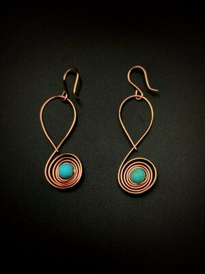 Speckled Bead Copper Earrings