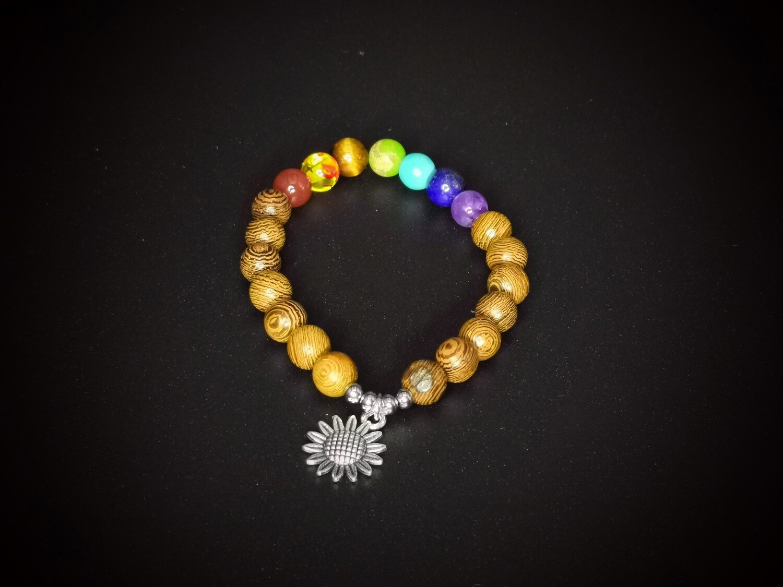 Wood and Marble Coloured Beaded, Sunflower Charm Bracelet