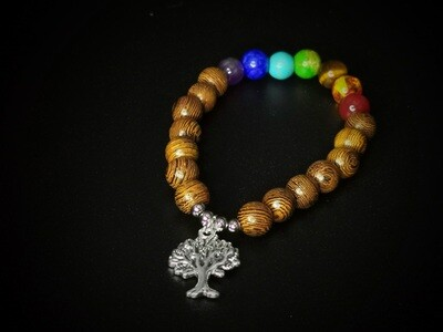 Wood and Marble Coloured Beaded, Tree Charm Bracelet