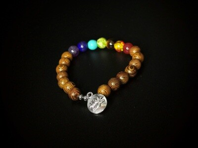 Wood and Marble Coloured Beaded, Flower Charm Bracelet