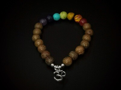Wood and Marble Coloured Beaded, 3D Charm Bracelet
