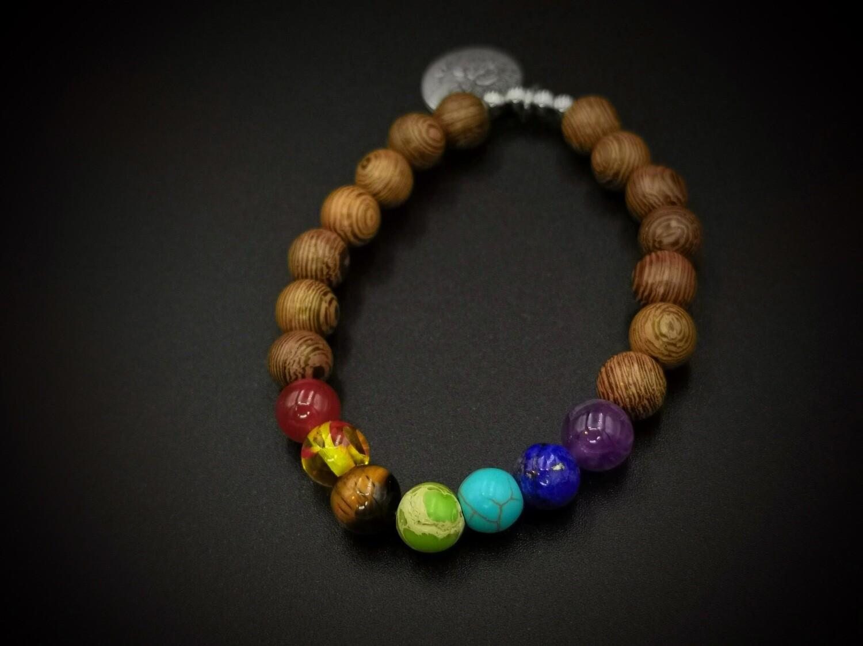 Wood and Marble Coloured Beaded, Tree Charm Bracelet 2