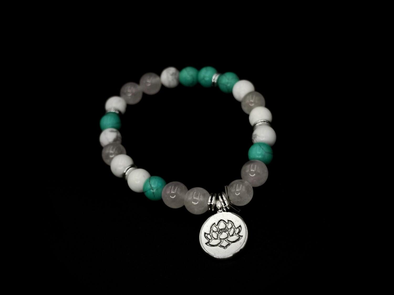 Beaded Silver Protea Charm Bracelet