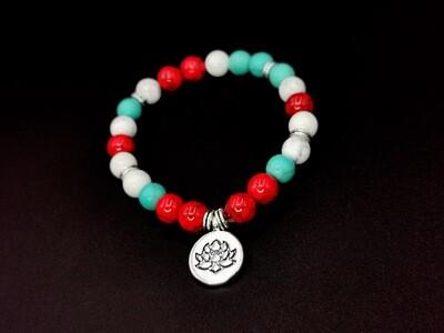Vibrant Beaded Protea Charm Bracelet