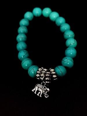 Elastic Turquoise Beaded Bracelet with Elephant Charm